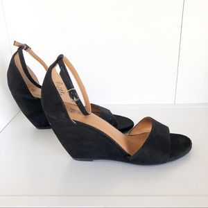 H & M Black Open Toe Wedge with Ankle Strap sz 7
